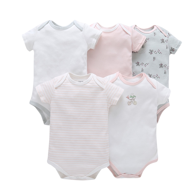 """2018 Top """"european And American Style Polyester Twill Hot Sell Clothing Set Bodysuit Short Sleeve Colors Cotton Jumpsuit 5pcs"""