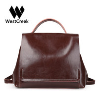 Westcreek Brand Women Retro Casual Small Backpack Split Leather Large Capacity Travel Bag Girls Cover School