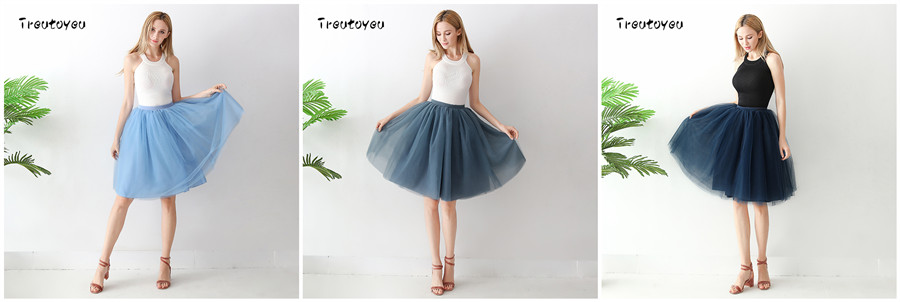 Streetwear 7 Layers 65cm Midi Pleated Skirt Women Gothic High Waist Tulle Skater Skirt rokjes dames ropa mujer 19 jupe femme 14
