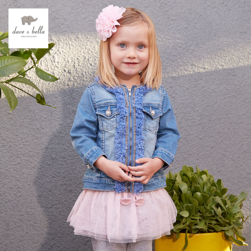 ФОТО DB2999-B dave bella autumn baby girls denim jacket  kids clothes toddler coat children coat  girls cool denim jacket