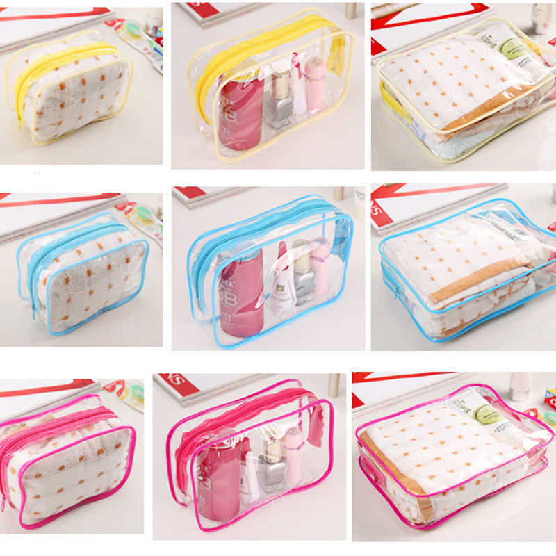 New Transparent Cosmetic Travel Bag Women Makeup Organizer PVC Washing Bags Zipper Pouch LXX9 pvc transparent wash portable organizer case cosmetic makeup zipper bathroom jewelry hanging bag travel home toilet bag