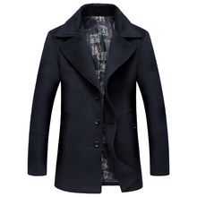 2016 зима новый мужская мода досуг толстые пальто мужские длинные Смеси Шерстяная ткань пальто куртки, бесплатная доставка