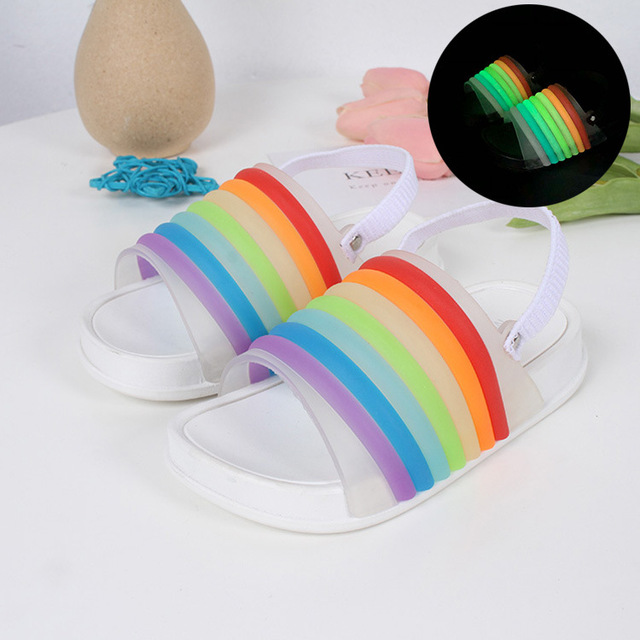 05401c71e871b1 Mini Melissa 2018 News Rainbow Strip Sandals 2018 New Summer Shoes Jelly  Shoe Girl Non-slip Kids Sandal Toddler Melissa Shoes