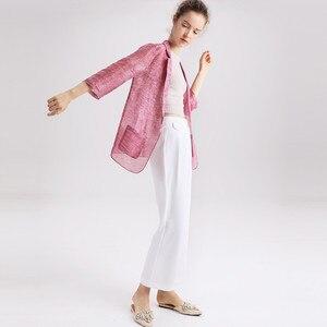 Image 3 - Women blazers 50% 실크 50% 리넨 솔리드 3/4 sleeved office 레이디 블레이저 2019 new fall winter out wear