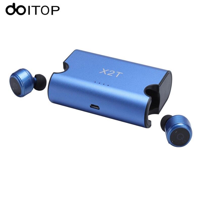 Doitop x2t True Беспроводной <font><b>Bluetooth</b></font> Наушники близнецов стерео гарнитура с магнитной зарядной корпус мини Спорт Наушники #
