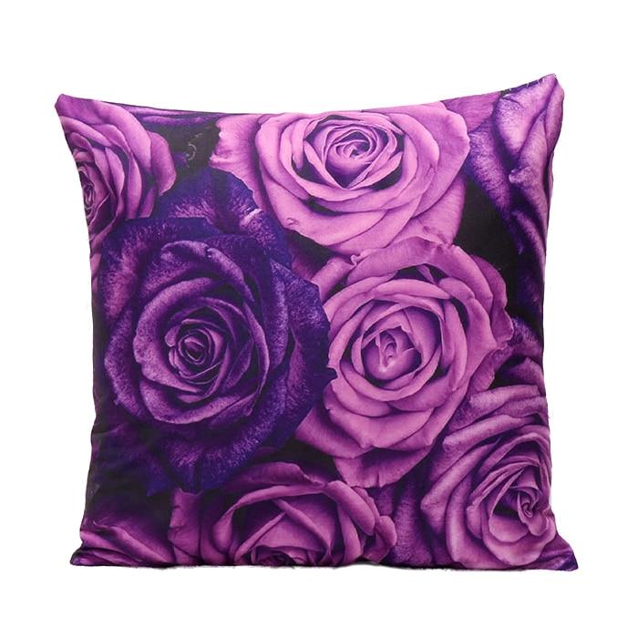1 Pcs 45x45cm 3D Violet Pringting Cushion Cover Bedroom Throw Pillow Case Home Sofa Decoration purple