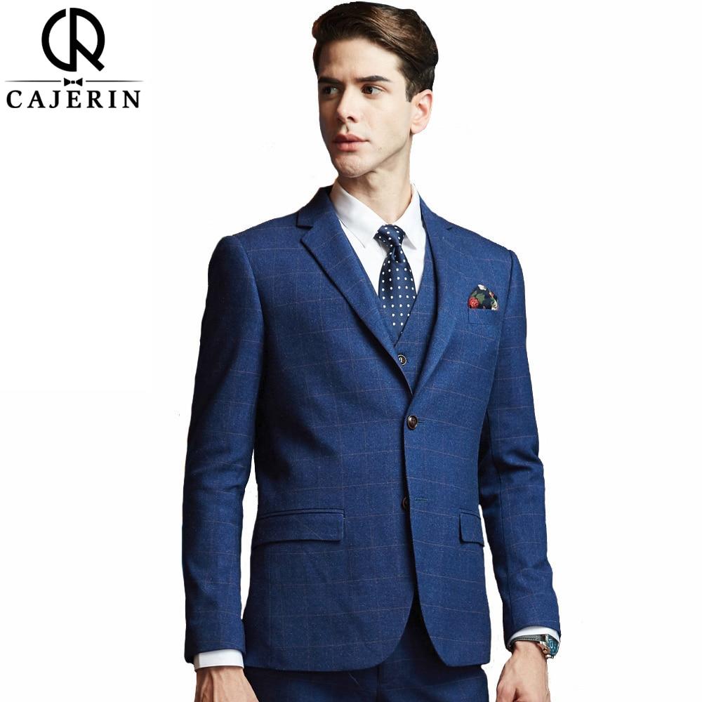 Cajerin Blue Lattice (Jacket+Vest+Pants) Mens