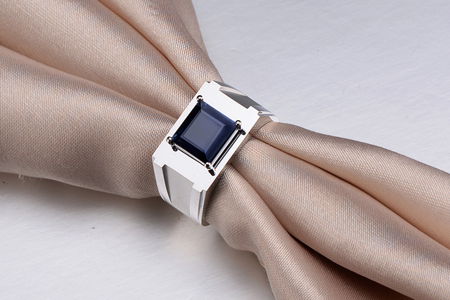 8Gram Gold 1.53ct natural Sapphire 18K gold Men's Ring Wedding ring Engagement jewelry Design