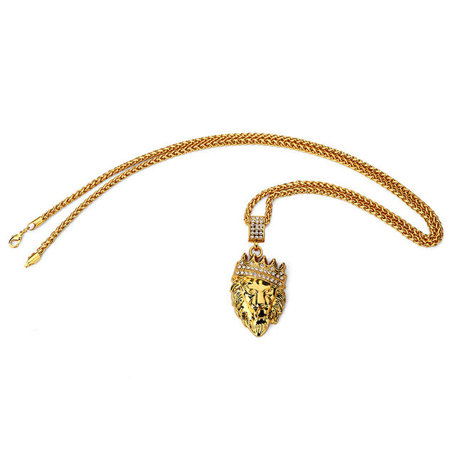 Online shop golden lion head crown king pendants necklaces men golden lion head crown king pendants necklaces men women hip hop charm franco chain iced out bling rock jewelry gift aloadofball Gallery