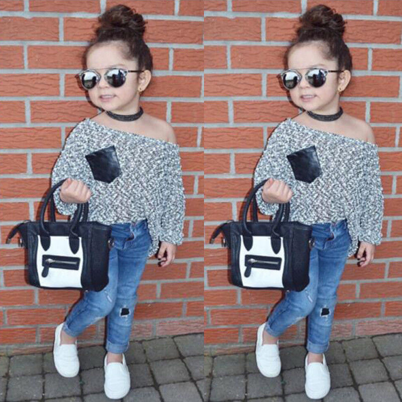 2017 New Fashion Children Girl Clothes Off shoulder Long Sleeve T-shirt Tops+Hole Denim Pant Jeans 2PCS Outfit Kids Clothing Set 2017 new fashion kids clothes off shoulder camo crop tops hole jean denim pant 2pcs outfit summer suit children clothing set