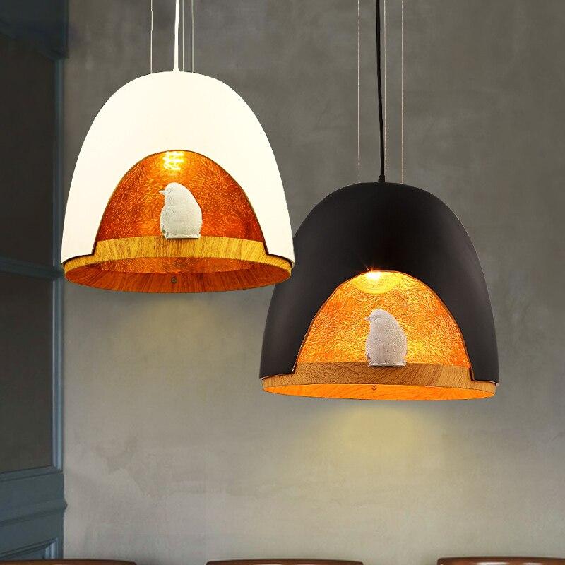 Black white modern bird shell wooden pendant light for for Hanging lights for kids room