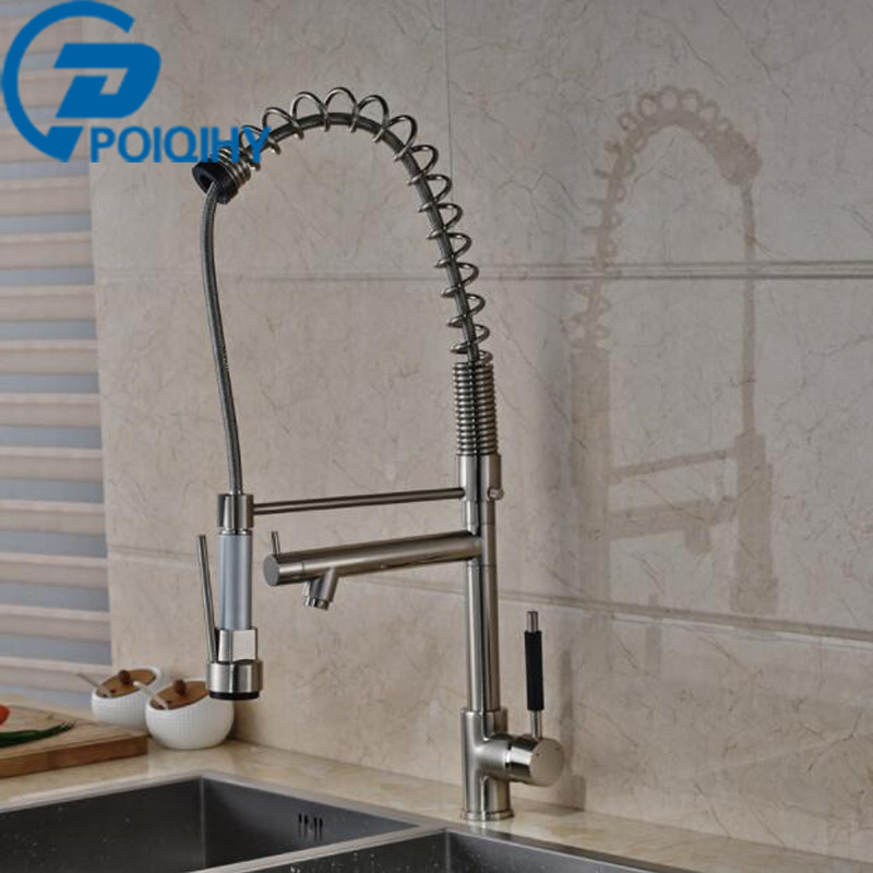 Luxury Spring Kitchen Faucet Mixer Taps Dual Spout Brushed Nickel Kitchen Faucet Single Handle 360 Rotation Deck Mounted Faucet kemaidi fashion deluxe kitchen faucet mixer tap deck mounted kitchen faucet nickel brushed brass material kitchen taps