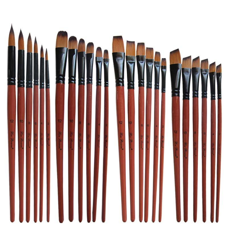 Nylon Hair Oil Paint Brush Round Filbert Angel Flat Acrylic Learning Diy Watercolor Pen for Artists Painters Beginners, 6Pcs/set(China)