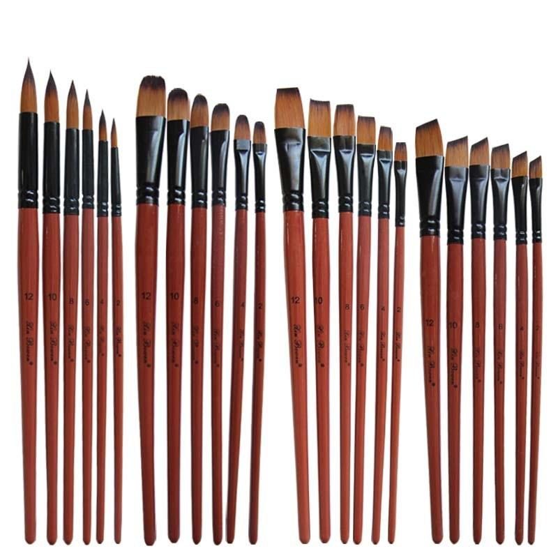 Nylon Hair Oil Paint Brush Round Filbert Angel Flat Acrylic Learning Diy Watercolor Pen For Artists Painters Beginners, 6Pcs/set