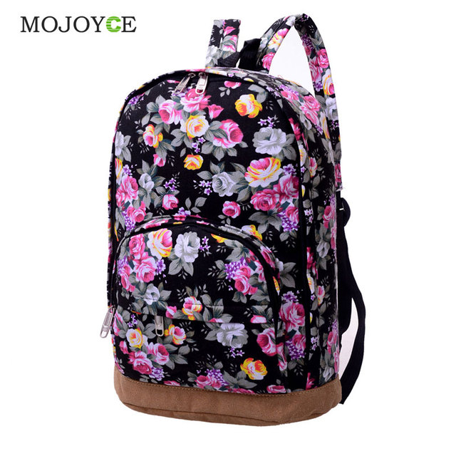 Chinese Style Flower Printed Backpack Women Canvas Large Capacity Colorful  Street Travel Back Pack Bag Schoolbags 09aed260d9628