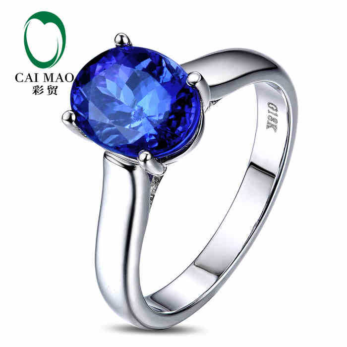 CaiMao 18KT/750 White Gold 2.9 ct Natural IF Blue Tanzanite AAA 0.09 ct Full Cut Diamond Engagement Gemstone Ring JewelryCaiMao 18KT/750 White Gold 2.9 ct Natural IF Blue Tanzanite AAA 0.09 ct Full Cut Diamond Engagement Gemstone Ring Jewelry