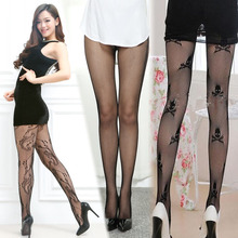 Sexy Fishnet Top Thigh High Stocking skull star Erotic lingerie Mesh Hosiery lady lingerie costumes Netting Intimates