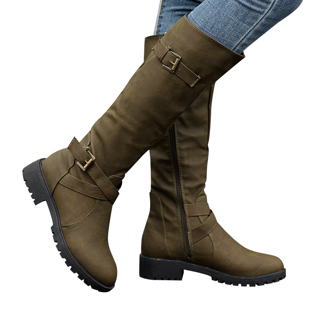 Peize Womens Simple Knee High Calf Biker Boots Ladies Casual Solid Zip Punk Military Combat Army Boots