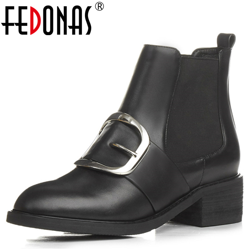 FEDONAS High Quality Brand Women Thick High Heeled Motorcycle Boots Genuine Leather Shoes Woman Autumn Winter Warm Snow Boots snow boots free delivery of autumn and winter high quality 100