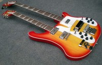 Double Neck Ricken electric bass guitar Cherry burst color /double neck electric guitar/12strings guitar