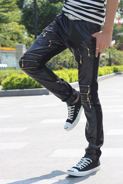 Ночной клуб диджей метросексуал черные маленькие ноги ветрозащитные брюки из искусственной кожи для мотоцикла на молнии тонкие мужские брюки
