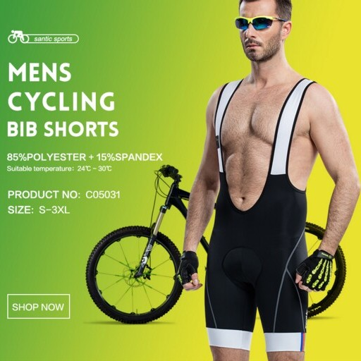 Santic Black Bib Shorts Cycling 3D Coolmax Gel Padded Bicycle Bike Cycling Bib Shorts for Men ciclismo bicicleta S-3XL C05031 santic men s cycling hooded jerseys rainproof waterproof bicycle bike rain coat raincoat with removable hat for outdoor riding