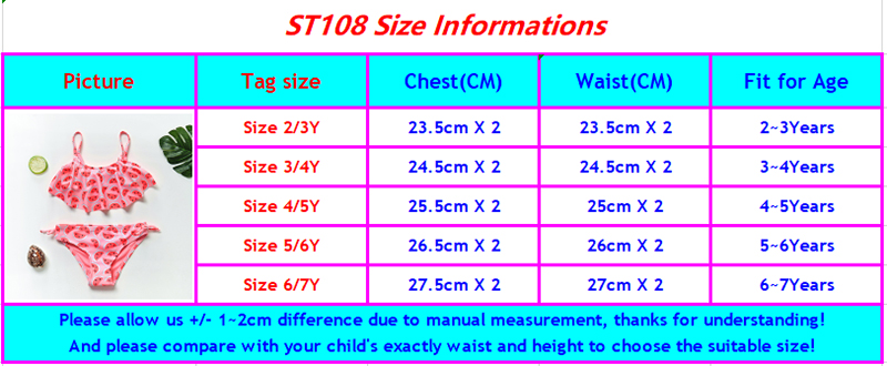 ST108 girls swimwear-size chart