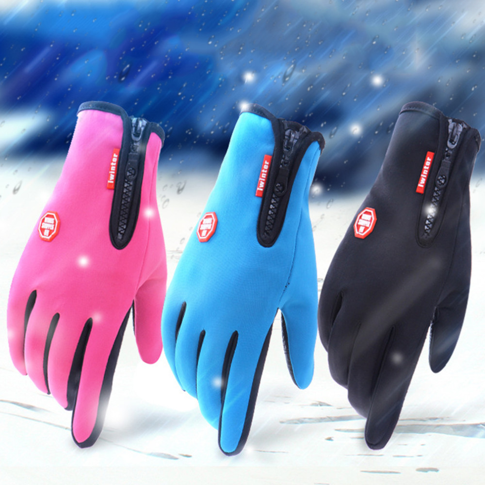 Ladies leather cycling gloves - Outdoor Sports Hiking Winter Bicycle Bike Cycling Gloves For Men Women Windstopper Simulated Leather Soft Warm Gloves