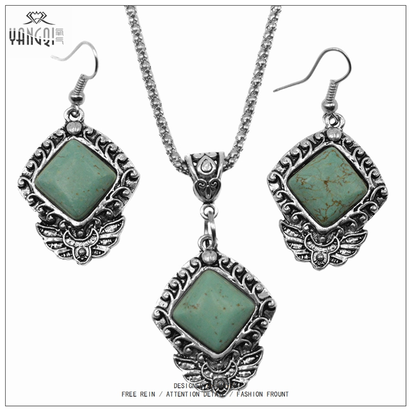 Exaggeration Retro Bohemia Calaite Stone Jewelry Sets Ethnic Green Natural Stone Drop Earrings Tibetan Silver Chains Necklaces