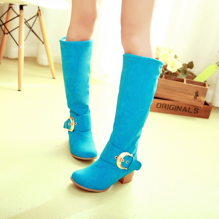 ФОТО 2015 women winter boots belt buckle Knight boots plus size 42 43 Sweet candy girl boots samll yards 31 32 high long knee boots