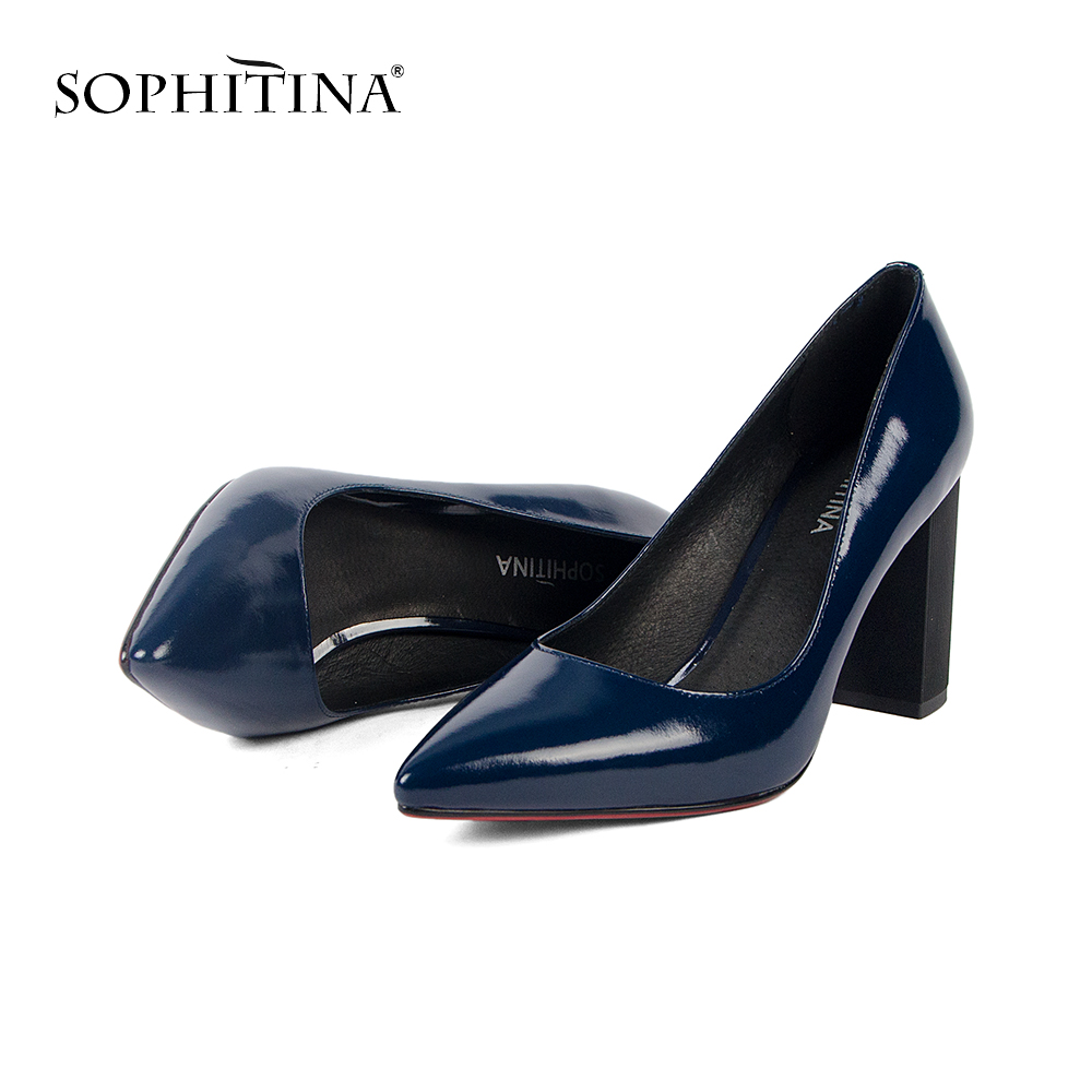 SOPHITINA 2019Spring New Wear-resistant Skidproof Patent Leather Solid Career Pumps Concise Mature Elegant Slip-on Shoes MC127