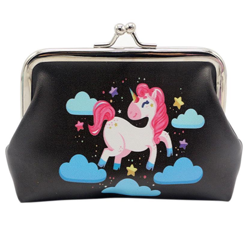 Kids Purse Kawaii Wallet Female Unicorn PU Leather Cartoon Purses Coin Small Pouch Hasp Change Pouch Monedero Infantil #815