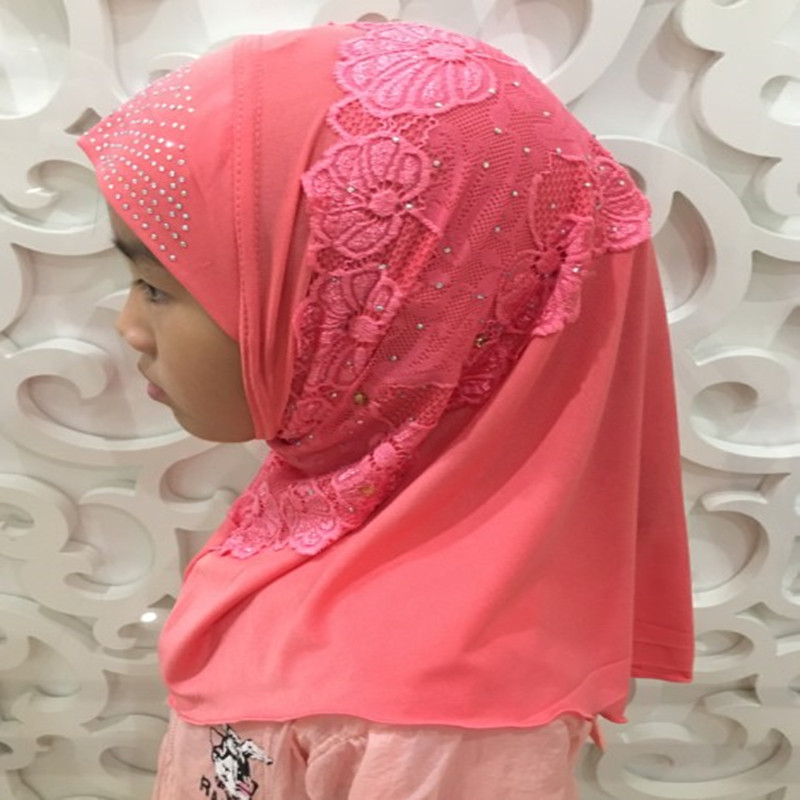H1383 new style small girl instant hijab with lace and rhinestones girls headwrap scarf