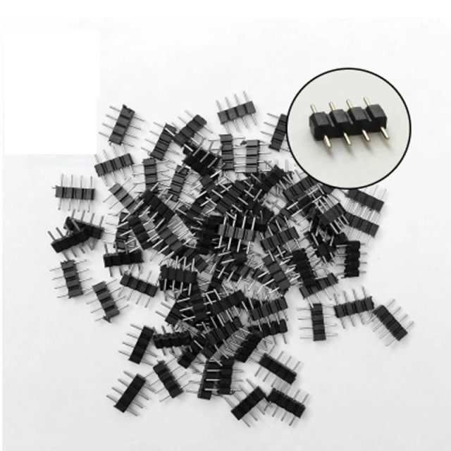 20pcs/lot 4pin RGB connector  4 pin needle male type double 4pin for 3528 5050 RGB LED  strip light