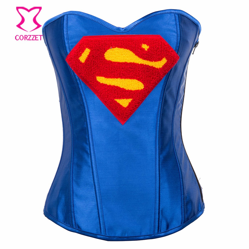 afec0bfd48 News Blue Superman Overbust Corset With Sexy Skirts For Women Back Ropes Steel  Boned Satain Hero