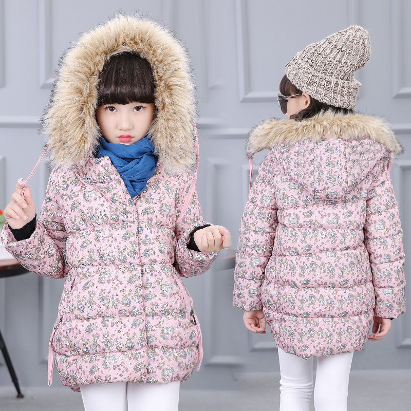 2017 winter children's clothes girls padded parkas floral thicken fur collar baby girl hooded coats for girls kids outerwears