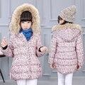 Roupas de inverno 2016 das crianças meninas parkas acolchoadas floral engrossar gola de pele de bebê menina com capuz casacos para meninas crianças outerwears