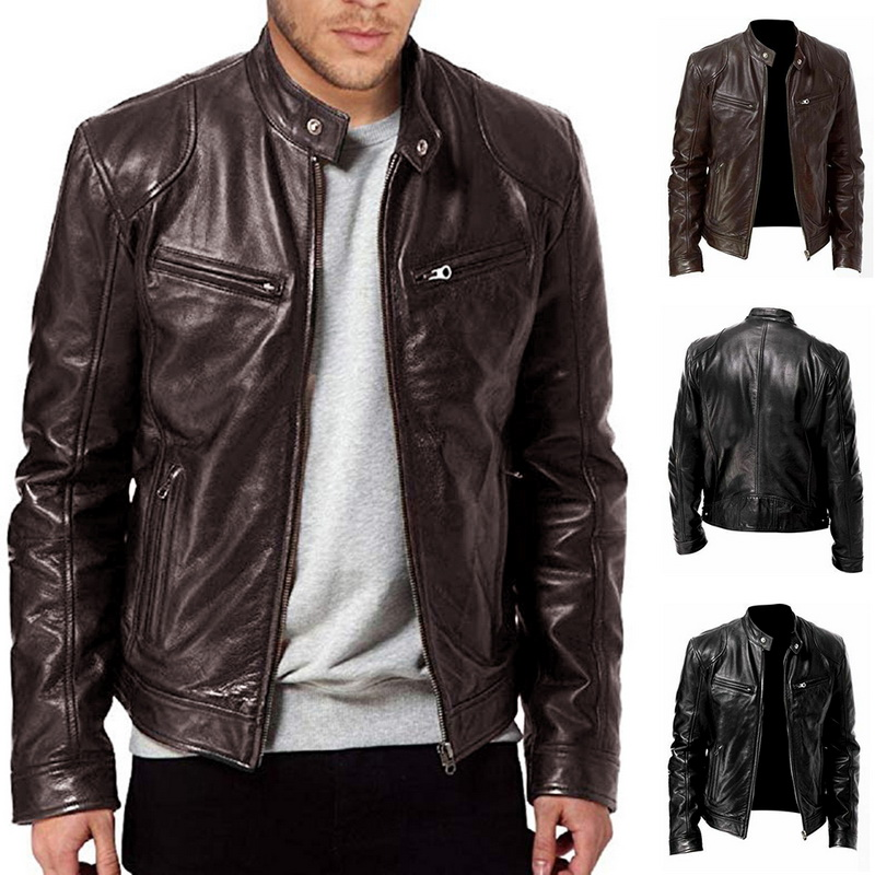 Fashion Moto Jacket Men Solid Stand Collar Veste Homme Pockets Zipper Casaco Masculino Casual Slim Chaquetas Vintage PU Coats