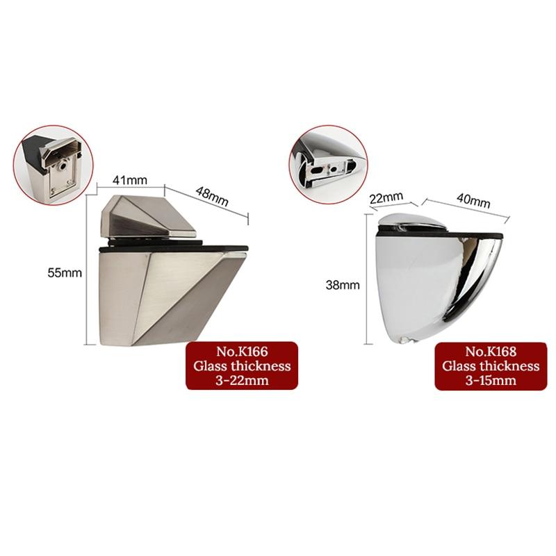 Купить с кэшбэком KAK Zinc Alloy Adjustable Glass Shelf Holder Glass Clamps Shelf Support Bracket Chrome Alloy Shelf Holder Glass Shelf Bracket