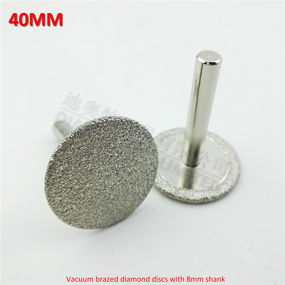 DIATOOL 2pcs Dia40mm Vacuum Brazed Diamond Discs With 8mm Shank For Cutting Grinding And Engraving Diamond Disc