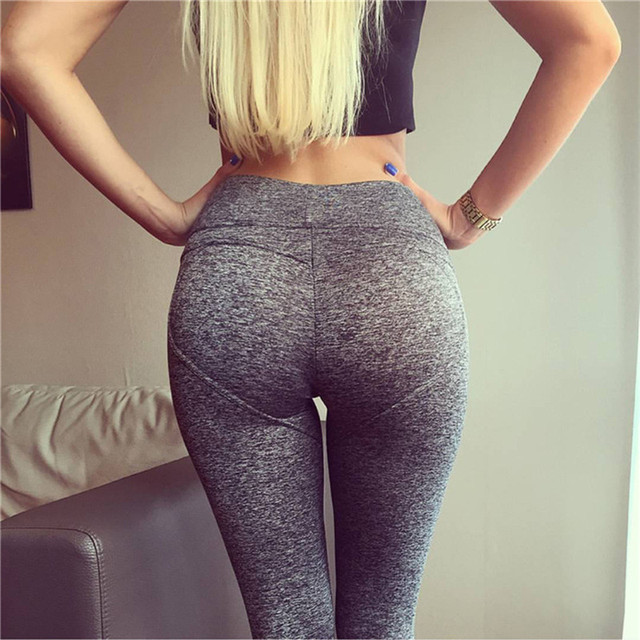 Ladies Push UP Leggings High Waist Fitness Leggings Women Solid Workout Pants Gothic Gray Leggins
