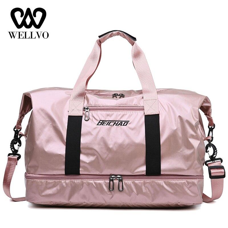Bags Glossy Fitness Travel Bags Dry Wet Tas Handbags Women Luggage Bag With Shoes Pocket Traveling Sac De Nylon Big Bag XA742WB