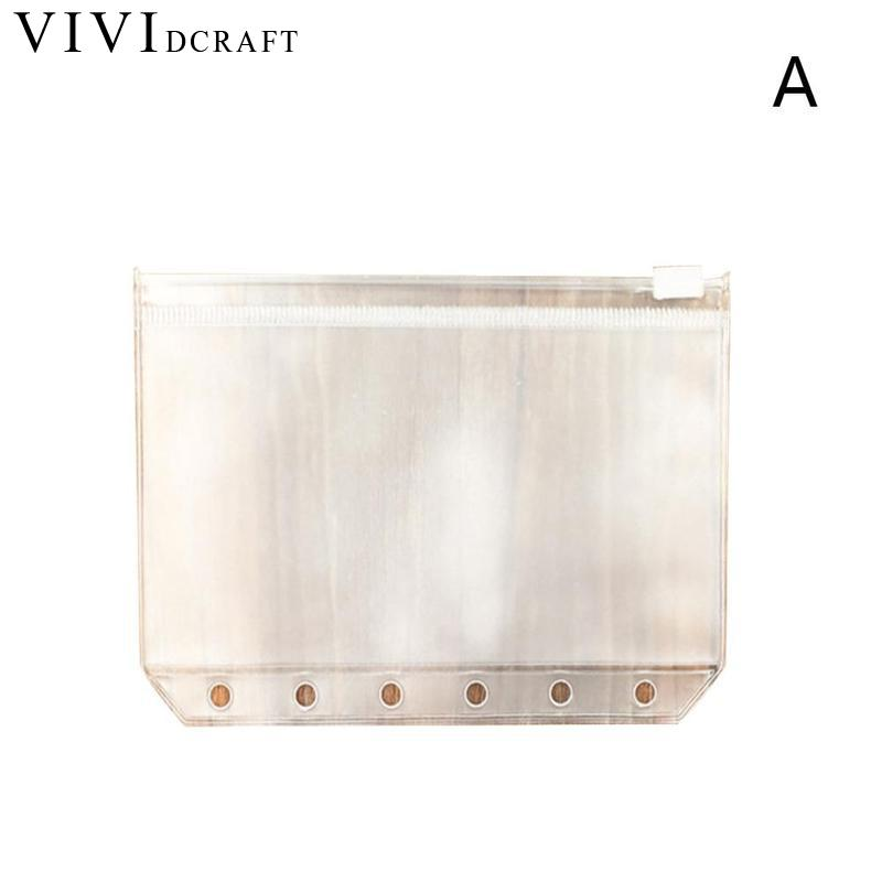 Vividcraft Standard Transparent PVC Clip File Zipper Bag 6 Holes Pocker A5 A6 A7 Collection File Bag Plastic Pouches For Kids