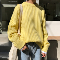2017 New Fashion Simple All Match Loose Solid Basic Casual Long Sleeve Female Sweaters