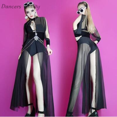 <font><b>2017</b></font> Female Singer Dj stage Hollow Yarn Dress Night Long Sleeve Body <font><b>Bar</b></font> <font><b>Dance</b></font> Nightclub Outfit Stage Women's <font><b>DS</b></font> <font><b>Dance</b></font> Costume image