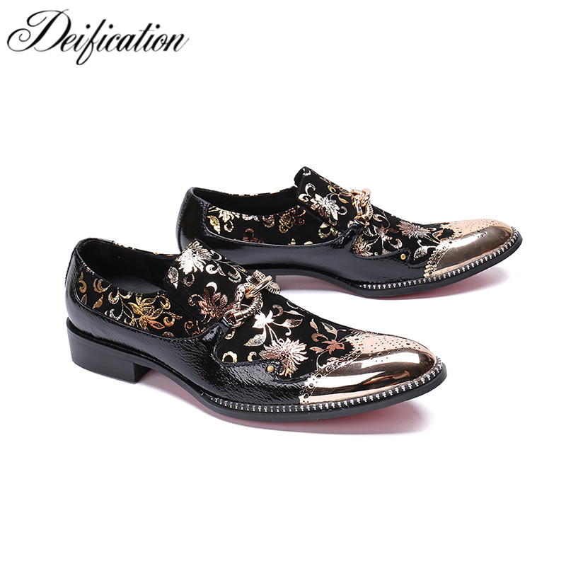 Deification Handmade Italian Leather Men Dress Shoes Gold Flowers Printed Men Loafers Chic Slip On Prom Shoes Men Casual Shoes