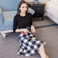 2017 Spring Fashion New Women Cartoon Printing T-shirt +A-line Plaid Skirt Two Piece Women Clothing Suit 3065