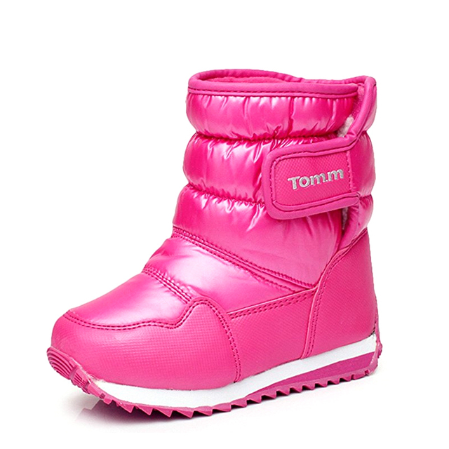 Niños Nieve Clima Frío Botas Niñas Botas de Nieve de LA PU Impermeable Lluvia Niños Bebé Confort Zapatos Calientes de Piel Medio ternero Al Aire Libre