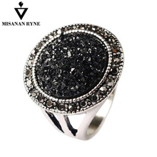 Hot 2016 Fashion Black Broken Stone Accessories Rings For Women Bohemia Silver Plated Engagement Ring