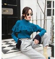 Trumpet sleeve split knit sweater autumn knitwear women 2018 new Korean half high collar ruffled sweater